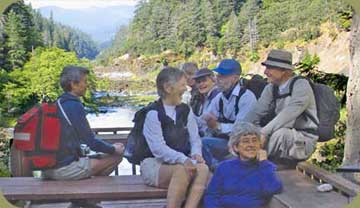 Hikers on Lodge deck